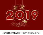 merry christmas 2019. new years ... | Shutterstock .eps vector #1244102572