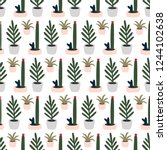 seamless pattern plant and... | Shutterstock .eps vector #1244102638