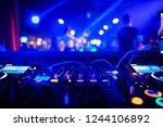 dj turntable console mixer... | Shutterstock . vector #1244106892