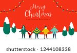 merry christmas and happy new... | Shutterstock .eps vector #1244108338