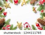 christmas frame background... | Shutterstock . vector #1244111785