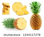 pineapple isolated on white... | Shutterstock . vector #1244117278