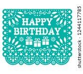 happy birthday papel picado...   Shutterstock .eps vector #1244117785