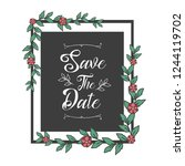 save the date with floral... | Shutterstock .eps vector #1244119702
