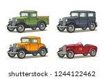 retro car sedan  coupe ... | Shutterstock .eps vector #1244122462
