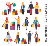 muslim shopping women and men... | Shutterstock .eps vector #1244124838