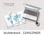 vector flat lay workspace ... | Shutterstock .eps vector #1244129605