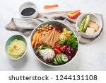 buddha bowl with tofu.  healthy ... | Shutterstock . vector #1244131108