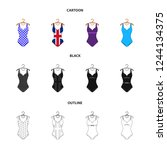 different kinds of swimsuits.... | Shutterstock . vector #1244134375