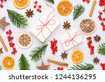 christmas decor on the old... | Shutterstock . vector #1244136295