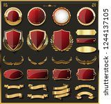 luxury gold badges and labels... | Shutterstock .eps vector #1244137105
