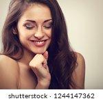 beautiful natural makeup... | Shutterstock . vector #1244147362