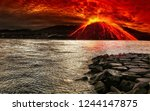 volcano eruption exposure | Shutterstock . vector #1244147875