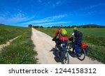 biker by camino de santiago in... | Shutterstock . vector #1244158312
