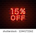 neon 15 off text banner. night... | Shutterstock .eps vector #1244172262