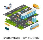set of objects airport. airport ...   Shutterstock .eps vector #1244178202