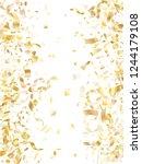 gold glowing realistic confetti ... | Shutterstock .eps vector #1244179108