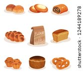 fresh baked bread and bakery...   Shutterstock .eps vector #1244189278