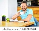 healthy habits. healthy man...   Shutterstock . vector #1244205598