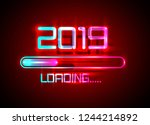 2019 happy new year with... | Shutterstock .eps vector #1244214892