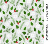 christmas seamless pattern with ... | Shutterstock .eps vector #1244217865