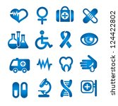 medical icons set  blue color ... | Shutterstock . vector #124422802