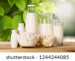 glass of milk  and dairy... | Shutterstock . vector #1244244085
