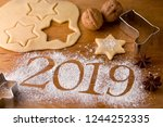 new year's greetings 2019  ... | Shutterstock . vector #1244252335
