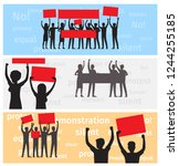 three horizontal banners with... | Shutterstock .eps vector #1244255185