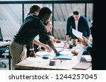 multicultural team group of... | Shutterstock . vector #1244257045