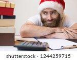 smiling business man wearing... | Shutterstock . vector #1244259715