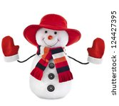 Happy Snowman With Red Hat...