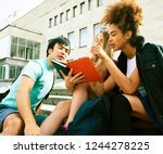 cute group teenages at the... | Shutterstock . vector #1244278225
