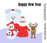 christmas card  santa snowman...   Shutterstock .eps vector #1244290102