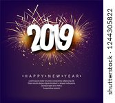 happy new year 2019 card... | Shutterstock .eps vector #1244305822