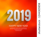 2019 happy new year text... | Shutterstock .eps vector #1244305858