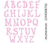 girlish pink font.   Shutterstock .eps vector #1244308732