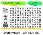 vector icons pack of 120 filled ... | Shutterstock .eps vector #1244326408