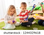 childhood  leisure and people... | Shutterstock . vector #1244329618