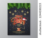 christmas party poster design... | Shutterstock .eps vector #1244330215