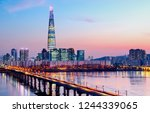 han river in twilight time at... | Shutterstock . vector #1244339065
