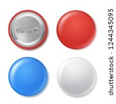 realistic blank circle badges... | Shutterstock .eps vector #1244345095