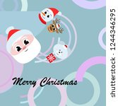 christmas card  santa snowman... | Shutterstock .eps vector #1244346295