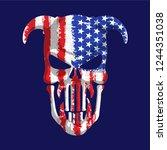 patriotic scary alien skull... | Shutterstock .eps vector #1244351038