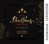 merry christmas sale banner on...   Shutterstock . vector #1244352538