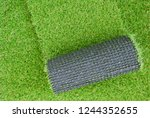 artificial grass lawn laying... | Shutterstock . vector #1244352655