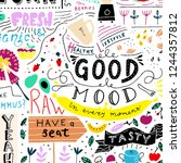 kitchen doodle pattern  cafe...   Shutterstock .eps vector #1244357812