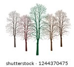 Five Trees Of Different Colors. ...