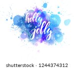 holly jolly decorative... | Shutterstock .eps vector #1244374312