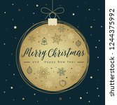 christmas card template with... | Shutterstock .eps vector #1244375992